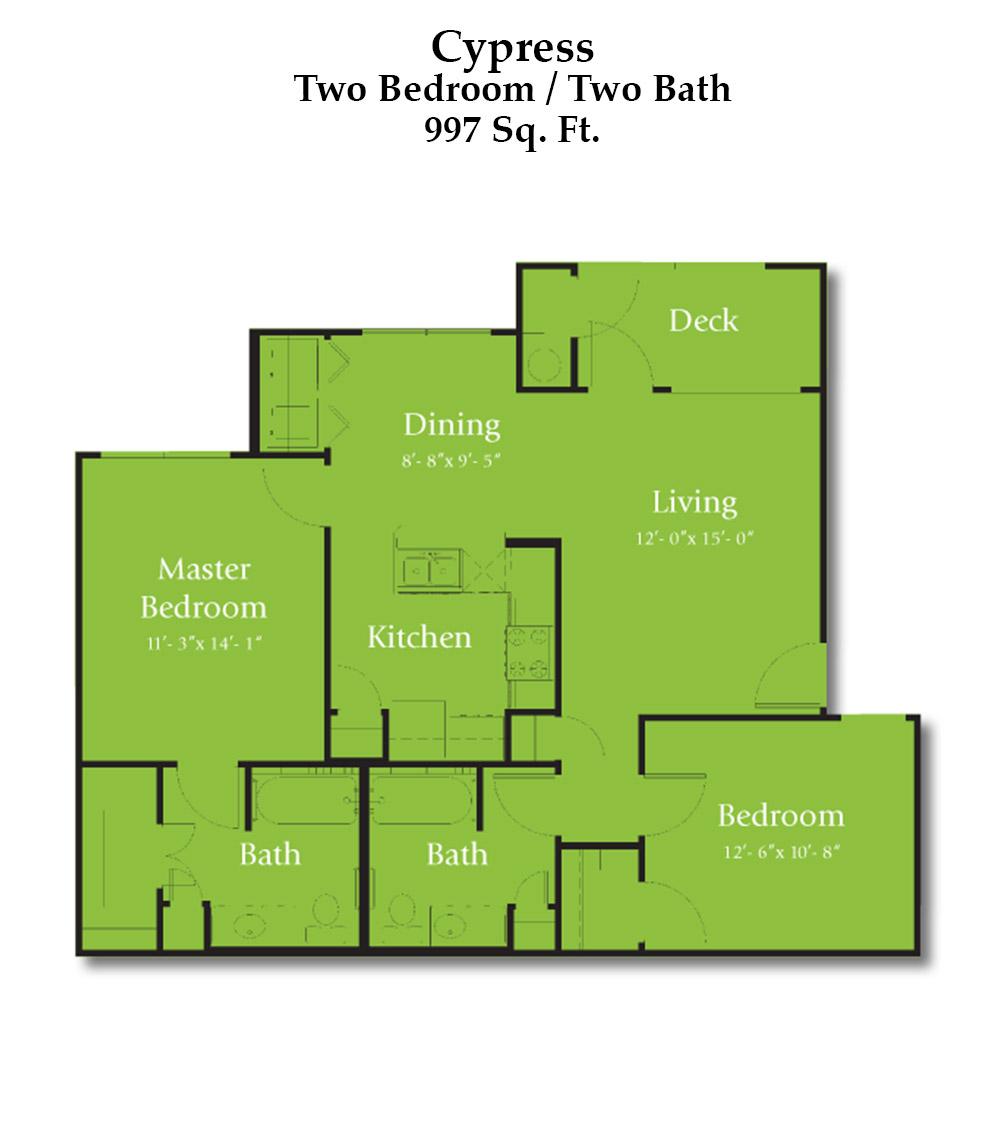 Cypress Creek Apartment Homes at Lakeline Blvd. - Cypress Floorplan