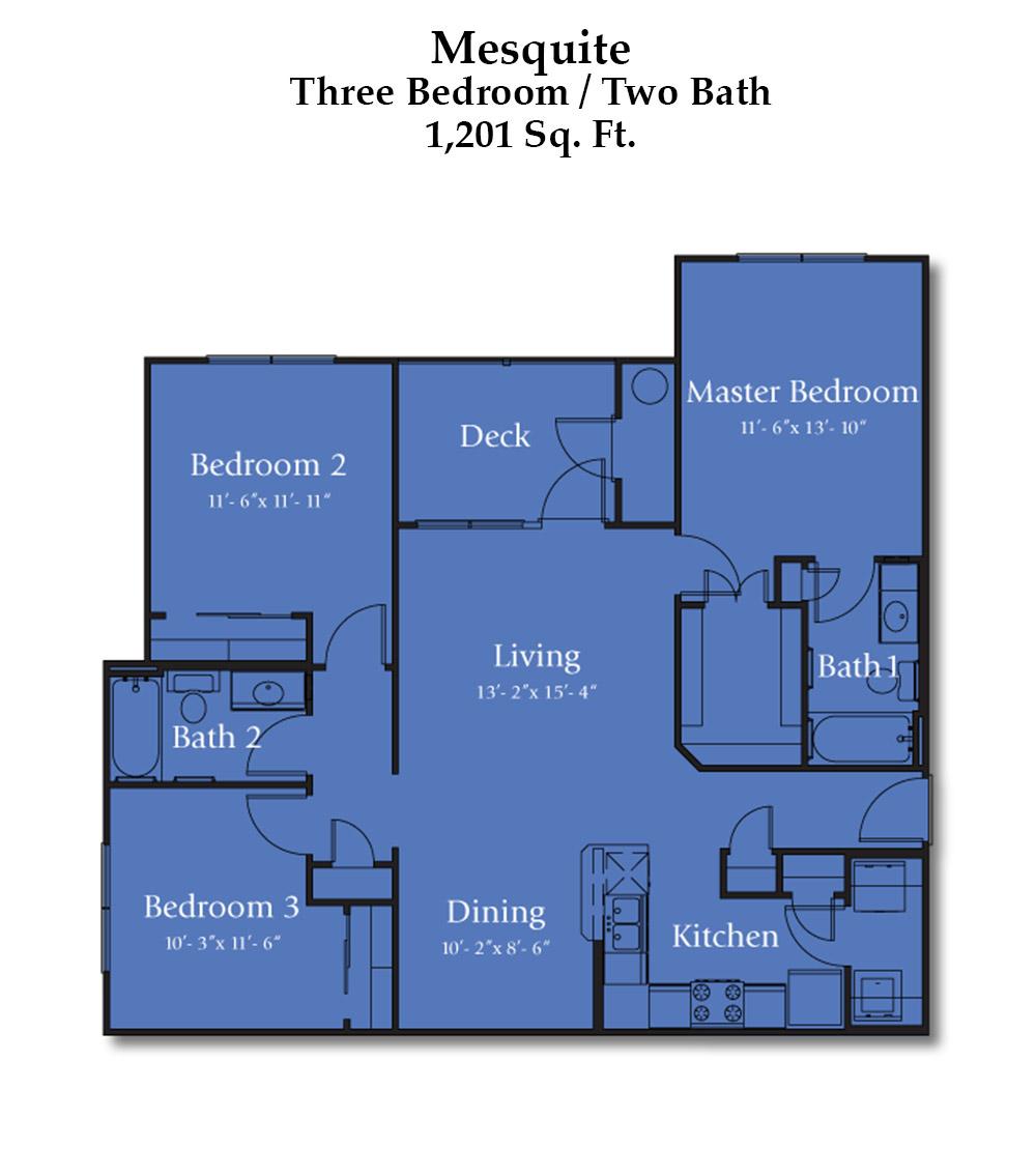 Cypress Creek Apartment Homes at Lakeline Blvd. - Mesquite Floorplan