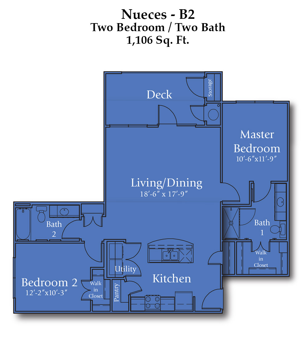 Cypress Creek Apartment Homes at Wayside Drive - Nueces Floorplan