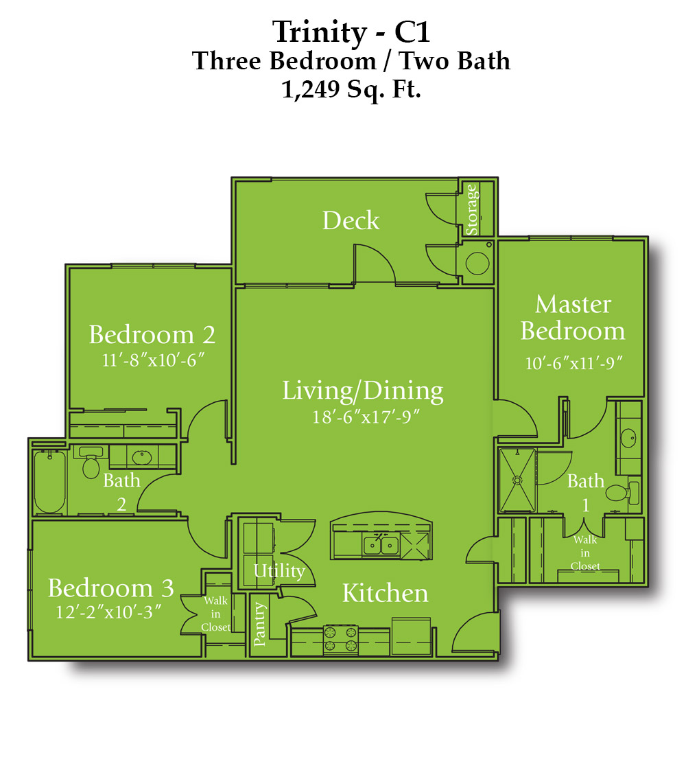 Cypress Creek Apartment Homes at Wayside Drive - Trinity Floorplan