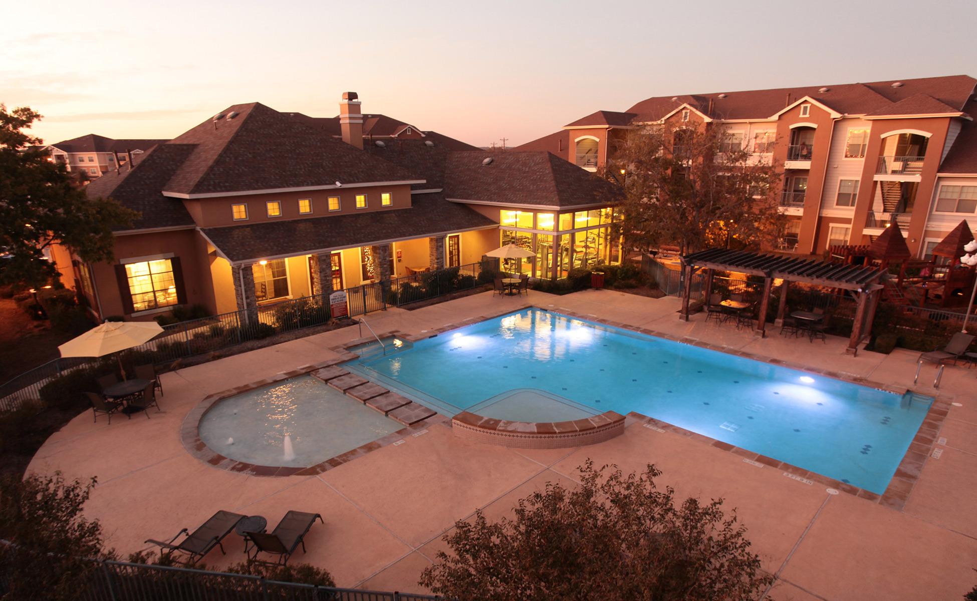 Cypress Creek Apartment Homes - Pool Evening